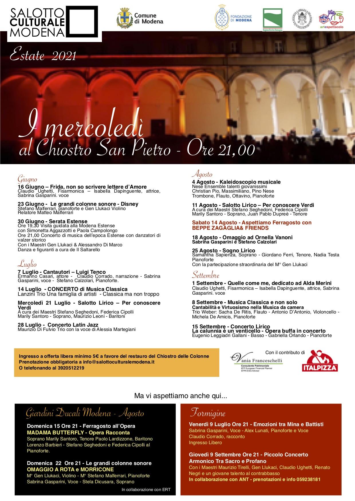 Rassegna eventi salotto culturale modena estate 2021